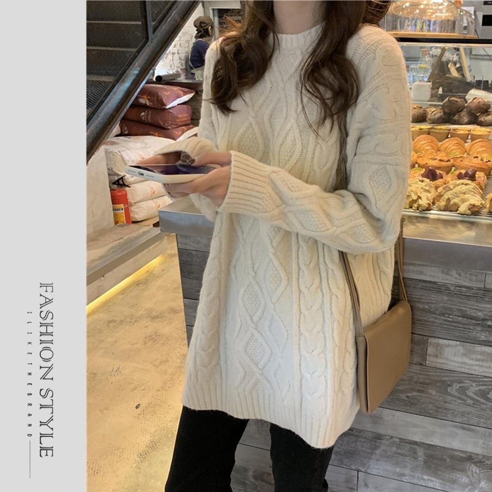 2F韓衣-簡約圓領氣質麻花毛衣-3色(S-XL)