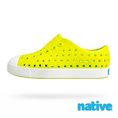 native 小童鞋 JEFFERSON 小奶油頭鞋-螢光綠x貝殼白