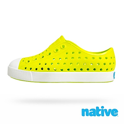 native 大童鞋 JEFFERSON 小奶油頭鞋-螢光綠x貝殼白