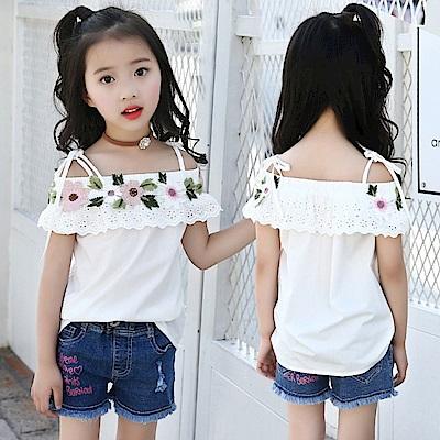 小衣衫童裝  女童刺繡花一字領吊帶白色露肩上衣1080307