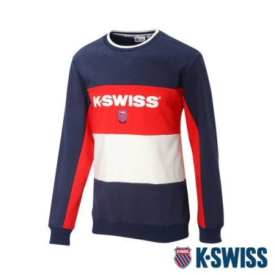 K-SWISS Heritage Round Sweater圓領長袖上衣-男-深藍