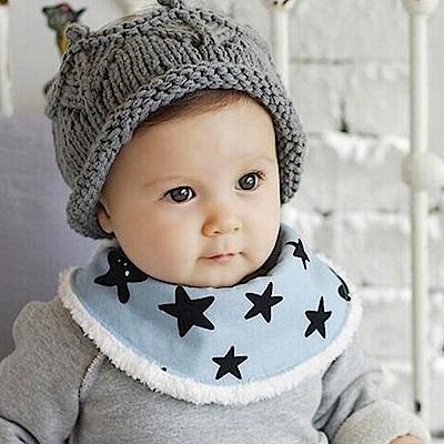 【QBabe】Q版寶寶可愛秋冬保暖半圓加絨圍巾 口水巾-<b>3</b>件組