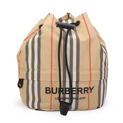時時樂 BURBERRY Vintage 經典條紋尼龍抽繩束口手拿包/收納包-典藏米色系