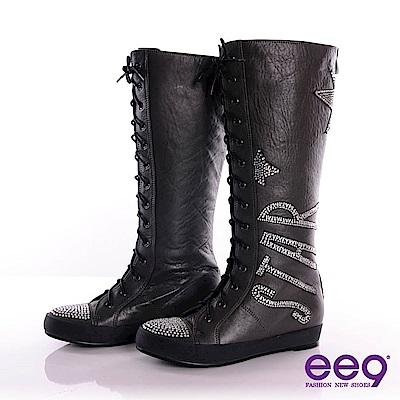 ee9 閃耀之星~STAR美型時尚後拉鍊式綁帶長筒靴~率性灰
