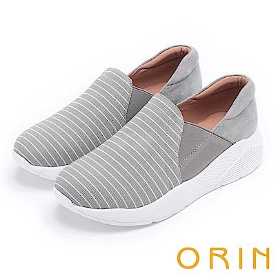 ORIN 休閒時尚風 百搭俐落條紋厚底休閒鞋-灰色