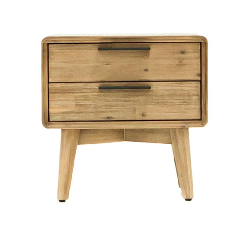【AT HOME】北歐簡約本木色圓角二抽床頭櫃/床邊櫃/收納櫃(絲帕)