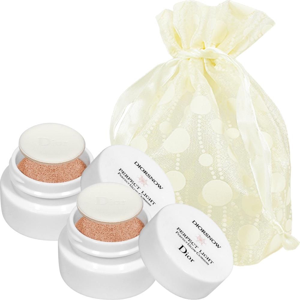 Dior迪奧 雪晶靈粉嫩光氣墊粉餅精巧版(#C07)(4g)*2旅行袋組