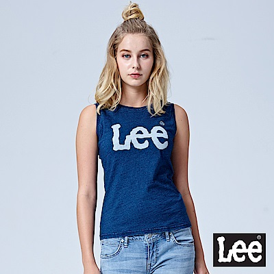 Lee 大LOGO無袖背心-灰藍