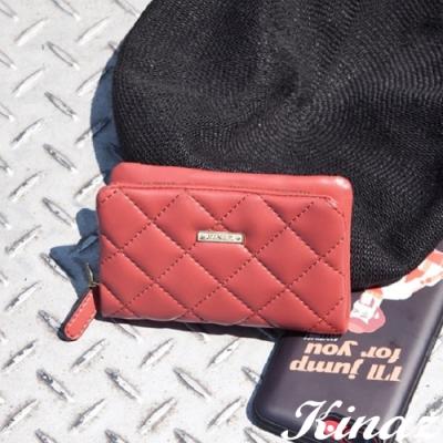KINAZ 菱格風琴卡片零錢包-甜桃紅唇-龐克女孩系列-快