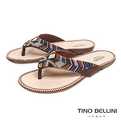 Tino Bellini 巴西進口民族風情繽紛珠飾夾腳涼拖鞋 _ 咖