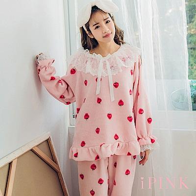 i PINK 草莓蛋糕 保暖水貂絨居家服睡衣套裝(粉)