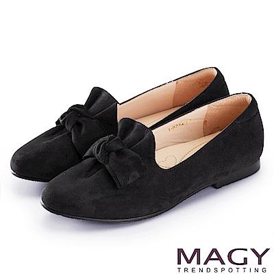 MAGY 復古上城女孩 抓皺蝴蝶結平底鞋-黑色
