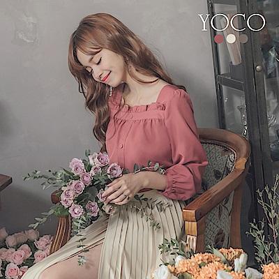 東京著衣-yoco 浪漫古典復古小荷葉方領多色長袖上衣-S.M.L(共三色)