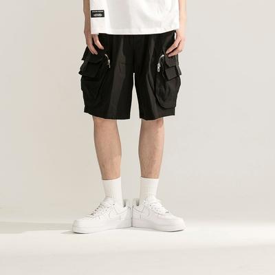 LAKING-修飾大口袋拉鍊設計工裝短褲
