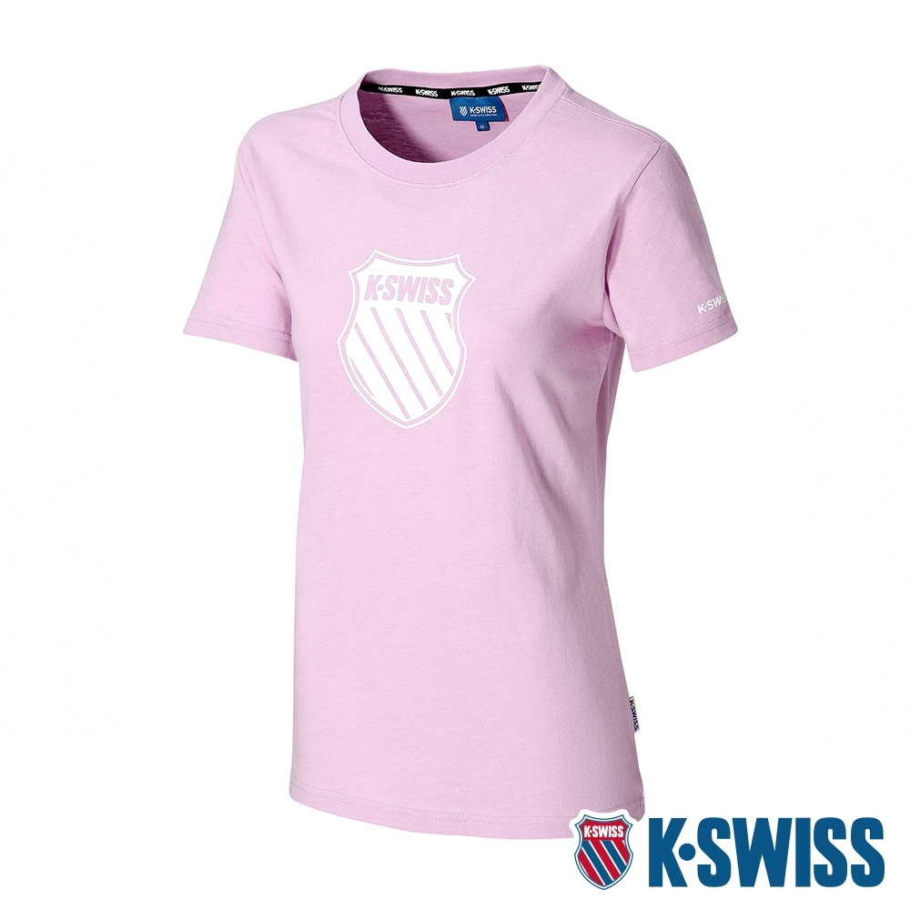 K-SWISS Shield Logo Tee印花短袖T恤-女-粉紫