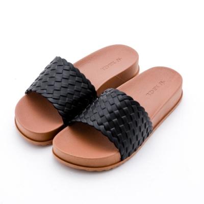 River&Moon拖鞋 一字寬版編織厚底防水拖鞋 黑