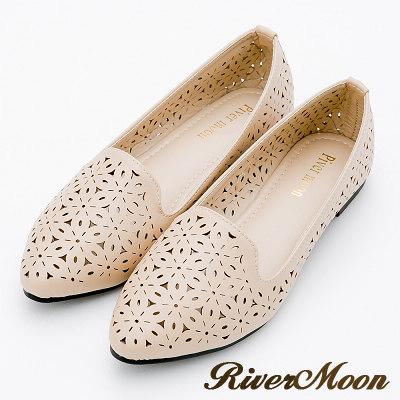 River&Moon大尺碼-低調時尚簍空尖頭平底鞋-杏