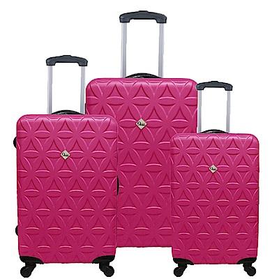 Gate9花花系列/三件組28吋+24吋+20吋/ABS霧面輕硬殼旅行箱/行李箱-桃紅色