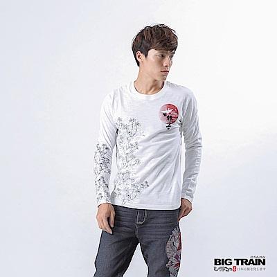 BIG TRAIN 加大款-福鶴千年長袖T-男-白色