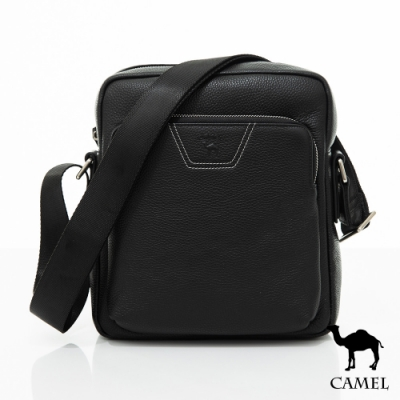 CAMEL - 商務紳士荔枝紋牛皮側背包