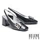 高跟鞋 HELENE SPARK 復古時尚造型方釦後繫帶粗高跟鞋-黑 product thumbnail 1