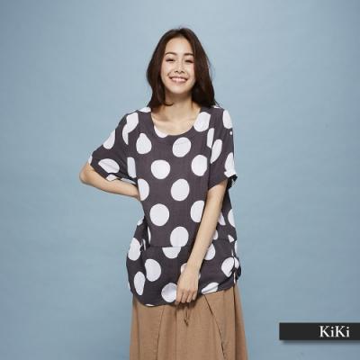 【KiKi】普普點點短袖-上衣(灰色)