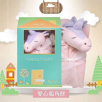 美國 Angel Dear 大頭動物嬰兒毛毯禮盒版 (愛心獨角獸)