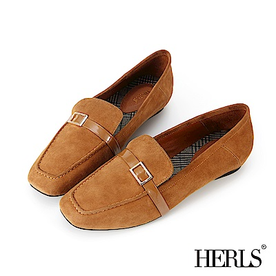 HERLS 全真皮釦環方頭麂皮樂福鞋-駝色