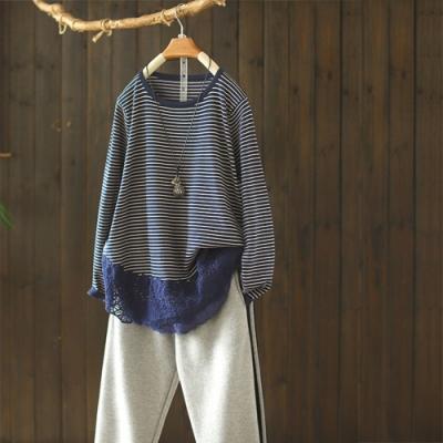 純棉條紋蕾絲拼接圓領內搭衫寬鬆長袖針織衫-設計所在