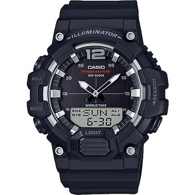 CASIO 絕地武士數字指針雙顯男錶-全黑(HDC-700-1A)/48mm