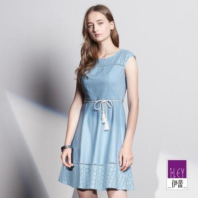 ILEY伊蕾 雅致蕾絲綁帶收腰裙(藍)