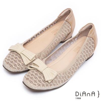 da0108蝴蝶結點綴沖孔鑽飾平底娃娃鞋-甜美可人-淺金