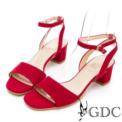 GDC-夏日繽紛真皮一字粗跟繞帶涼鞋-紅色