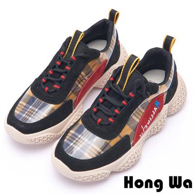 Hong Wa 復古菱格紋布拼接牛麂皮老爹鞋 - 黑