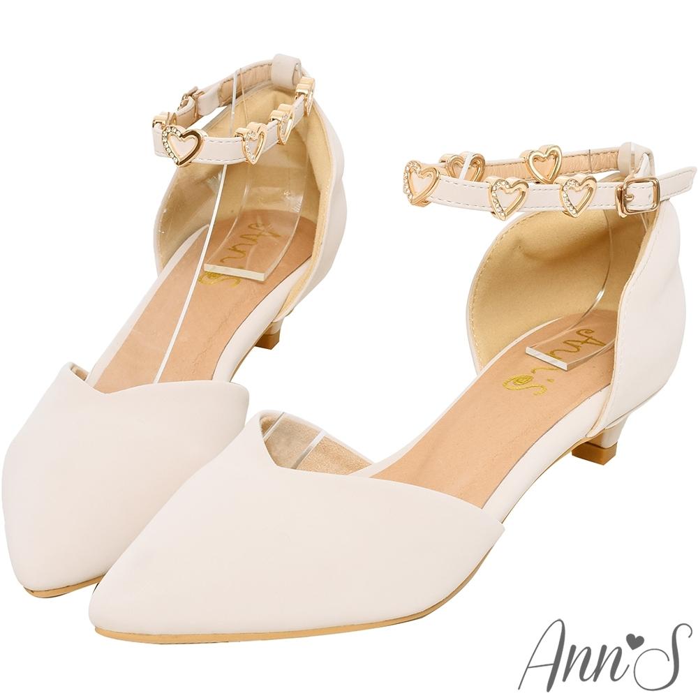 Ann'S愛心光波-甜美愛心鑽性感繫帶低跟尖頭鞋-杏