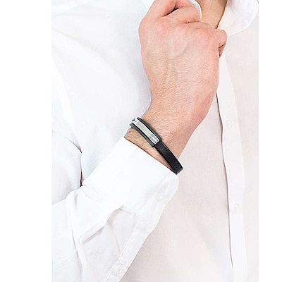 CALVIN-KLEIN-Mighty-系列魅力黑皮革雙色鋼手環