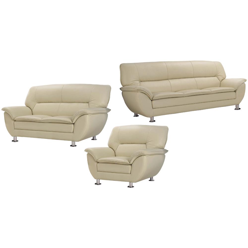 文創集 普莉西時尚半牛皮革獨立筒沙發椅組合(1+2+3人座)