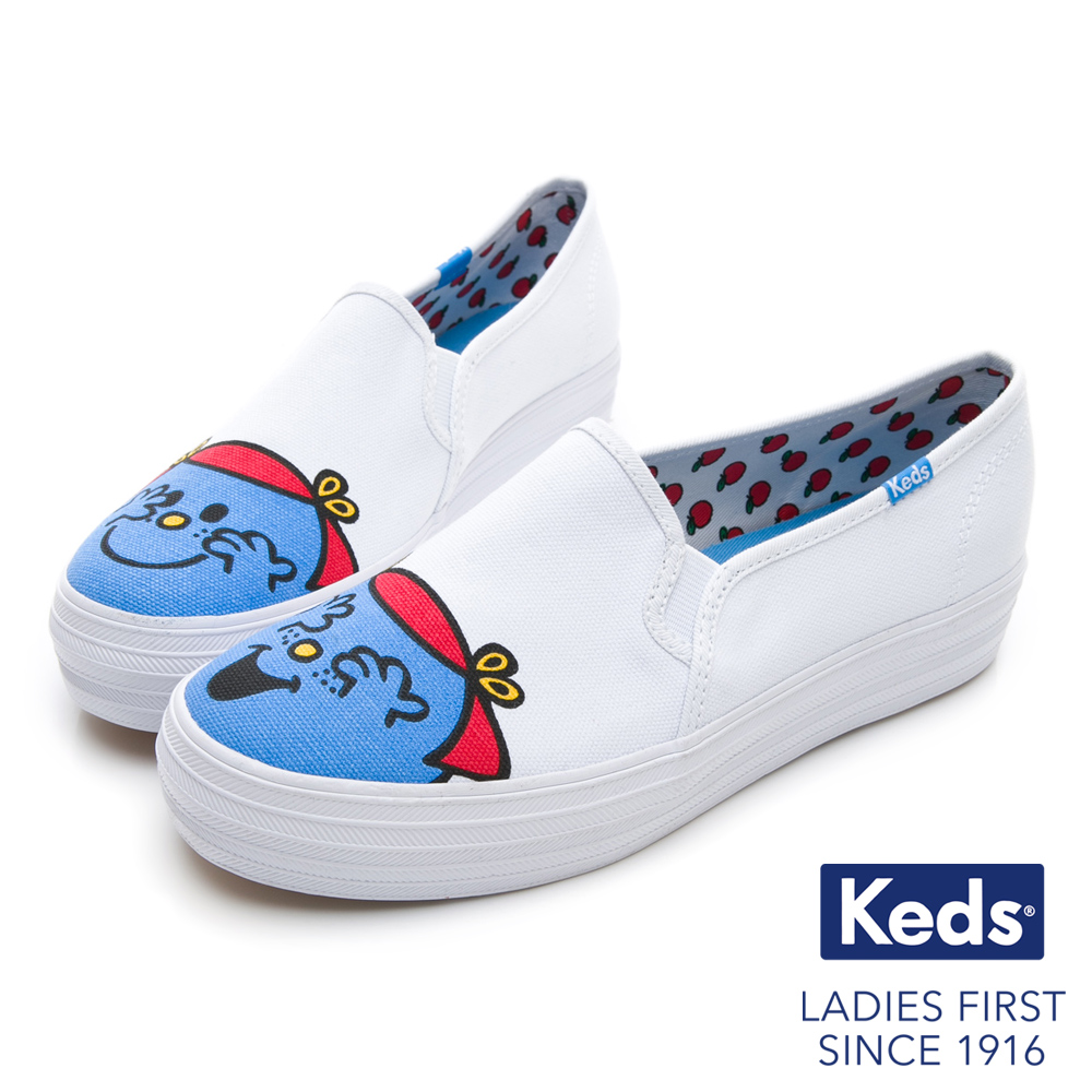 Keds x LITTLE MISS  笑嘻嘻小姐厚底休閒便鞋-白/藍