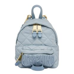 MOSCHINO 菱格紋後背包-迷你-藍色