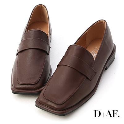 D+AF 復古年代.雙層設計方頭樂福鞋*咖
