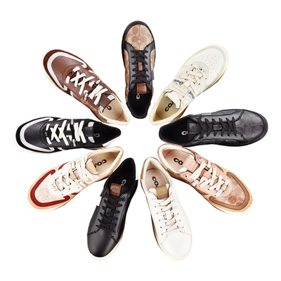 [時時樂限定]COACH專櫃款 印花LOGO滑面皮革/塗層帆布拼接麂皮運動鞋(多款多色)
