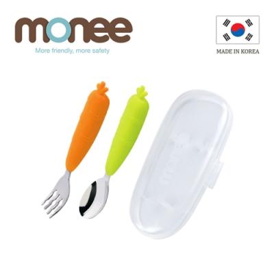 韓國monee 100%白金矽膠 寶寶智慧不沾桌叉匙組