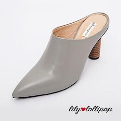 Lilylollipop Maisie真皮穆勒木頭高跟鞋--灰色