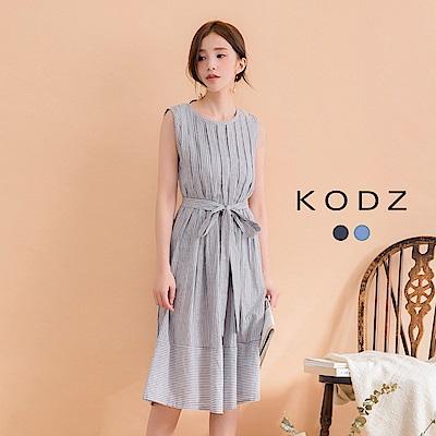東京著衣-KODZ 氣質修身條紋附綁帶無袖洋裝-S.M.L(共二色)