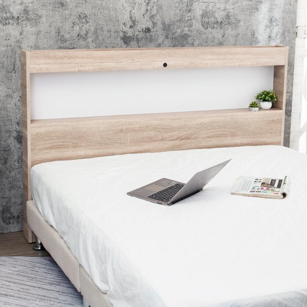 Boden-安森5尺雙人床頭片-附USB插座+LED夜燈(兩色可選)