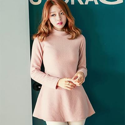 小波浪衣擺高領毛料洋裝 (粉色)-Sexy JADE