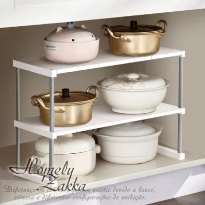 【Homely Zakka】日式簡約多功能雙層置物架/碗盤架/調味架/瀝水收納架_加長款(2色任選)