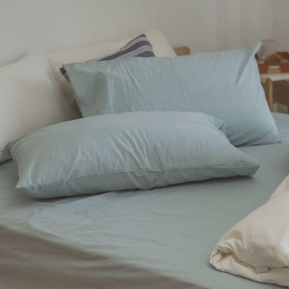 翔仔居家 台灣製 頂級長絨棉 水洗棉系列 素色枕套&床包2件組- 銀灰藍 (單人)