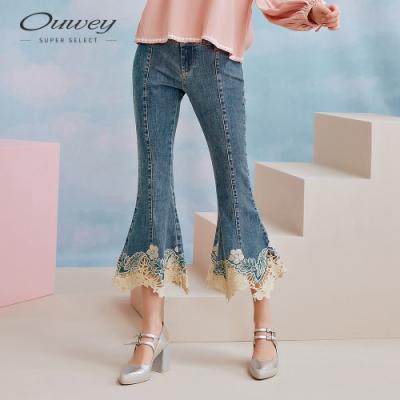OUWEY歐薇 優雅蕾絲牛仔微喇七分褲(藍)