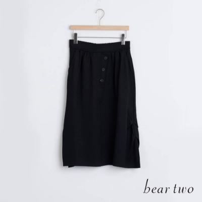 bear two- 造型釦子素面長裙 - 黑